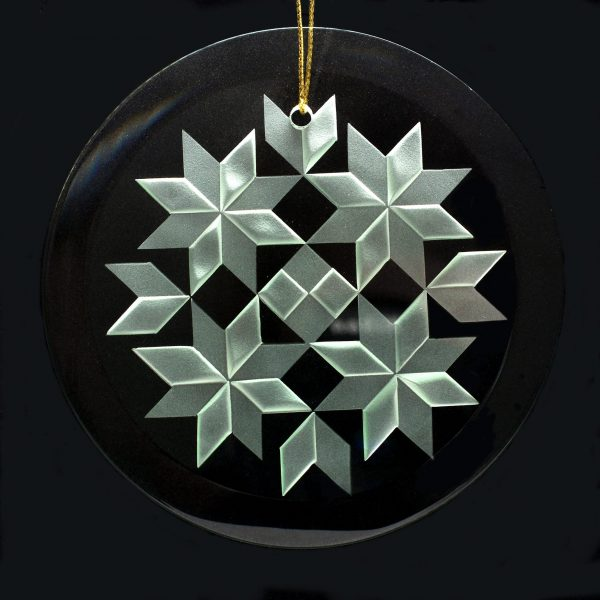 celtic quilt ornament, gift for the quilter, handcrafted in nc, hendersonville glass artist