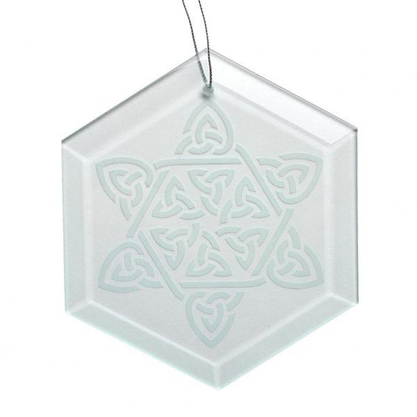 celtic star ornament white background, handcrafted glass ornament, hendersonville glass artist