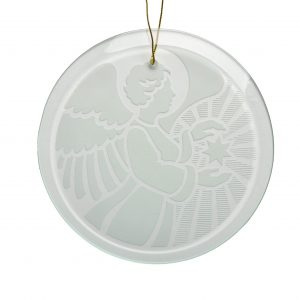 glass angel ornament with star, religious angel ornament, made in nc