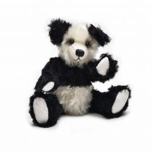 black and white mohair handmade teddy bear, baby gift heirloom, nc made nursery gift, unique handmade baby shower gift, nc fiber artist
