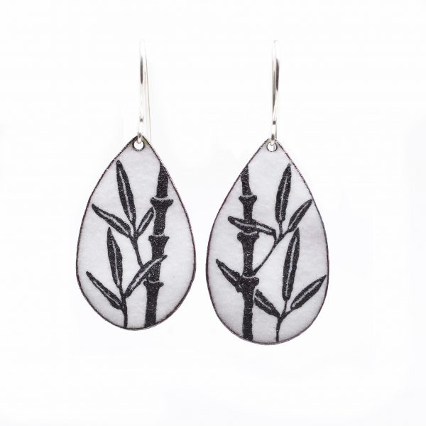 handmade bamboo teardrop enamel earrings, handcrafted enamel earrings, virginia jeweler