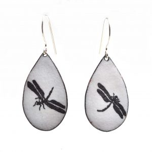 handmade black and white dragonfly enamel earrings, asheville jewelry gallery