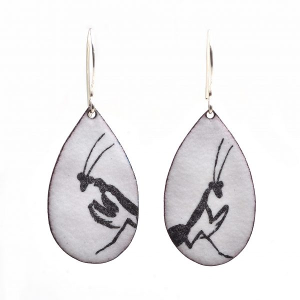 black praying mantis on top of white background, teardrop enamel earrings, handmade jewelry, asheville nc gallery