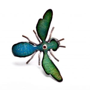 enameled bee with gemstone, blue and green bee pin, bug pin, virginia jeweler