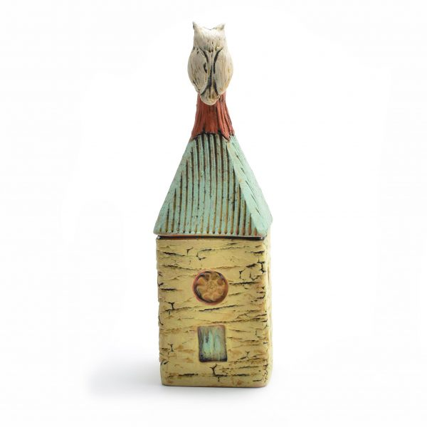 gift for friends, friend gift, colorful clay house with owl, owl gift