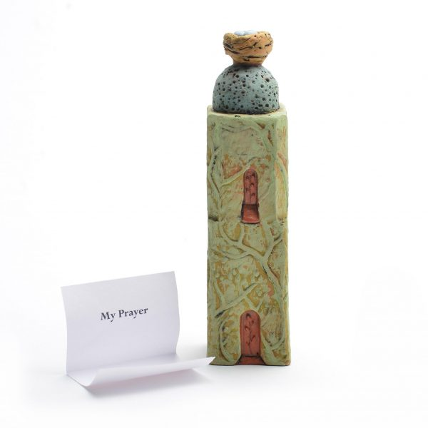 prayer tower with nest with robins eggs, green clay handmade house with nest, good luck gift, prayer gift