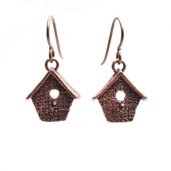 handmade copper birdhouse earrings with texture, pmc birdhouse earrings, precious metal clay copper asheville artist