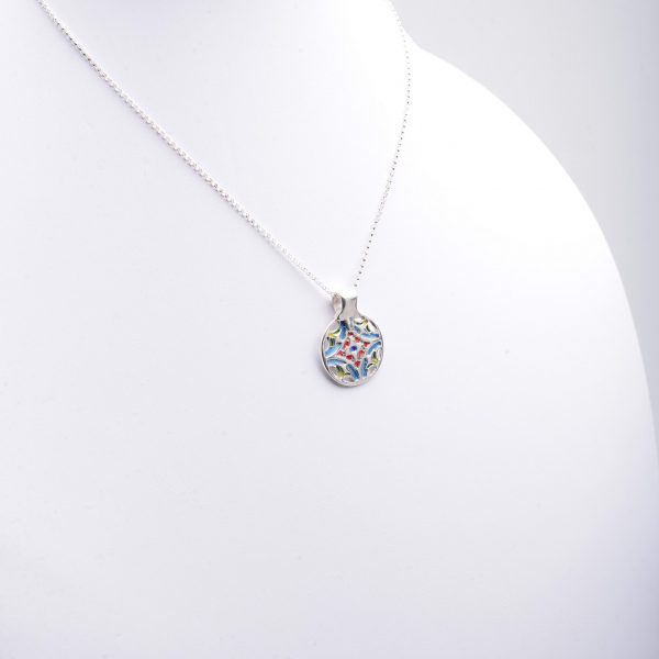 handmade pmc silver pendant necklace with enamel color