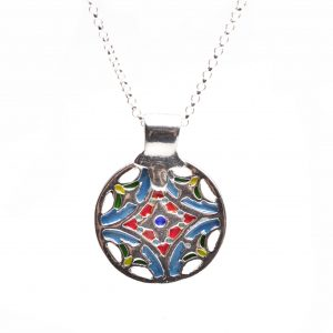colored enamel round pmc silver pendant, handmade necklace asheville