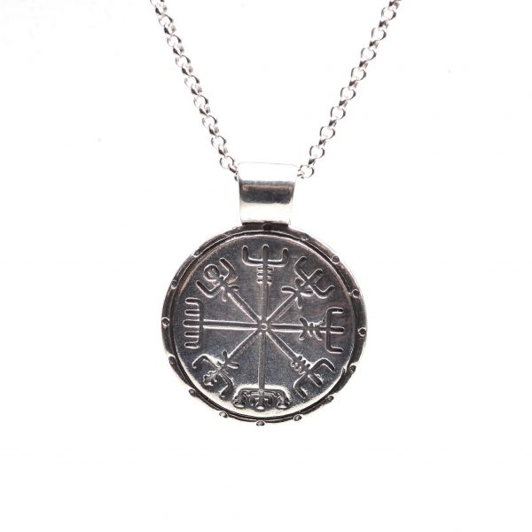 viking compass necklace, necklace for person making major change, travel jewelry, nc pmc jewelery