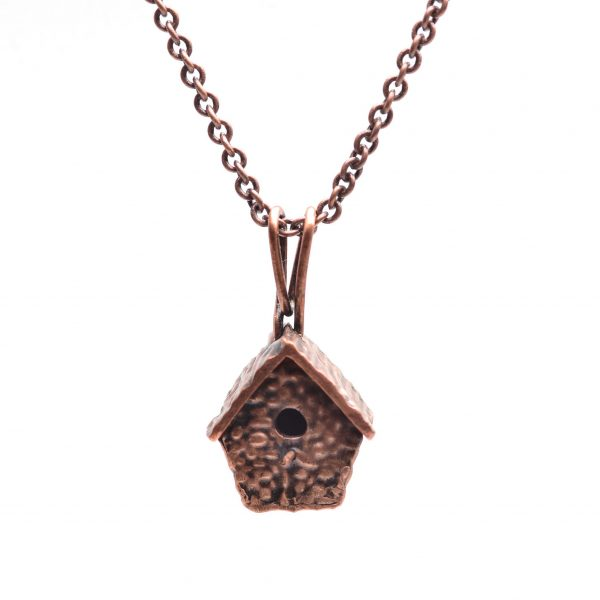 copper precious metal clay birdhouse necklace, pmc copper birdhouse, gift for bird watcher, handmade nc jewelry