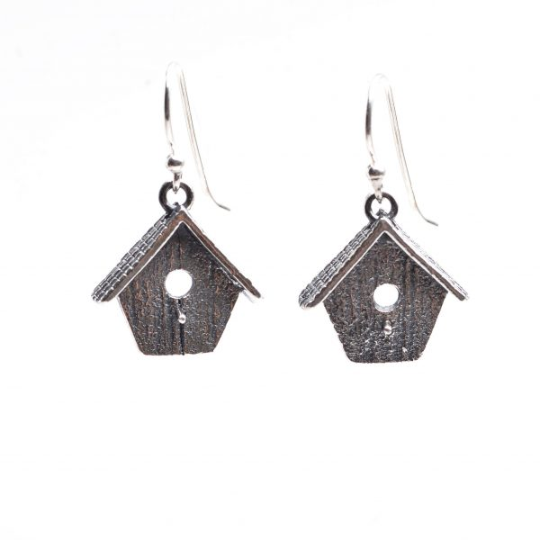 silver pmc birdhouse earrings, handmade silver precious metal clay silver earrings, bird lover gift