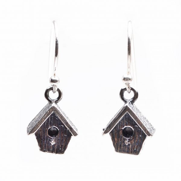 pmc silver birdhouse earrings, affordable gift for friend, bird lover gift