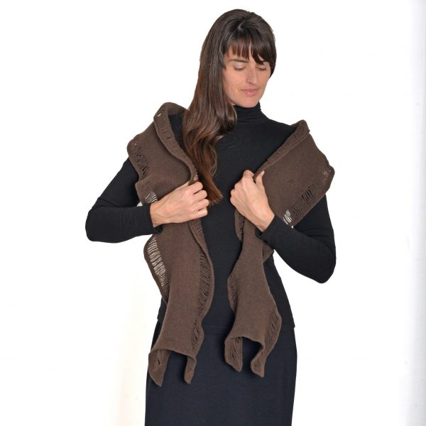 brown handmade winter scarf, wool felted scarf, nc fiber artist, va fiber artist, craft gallery, asheville craft