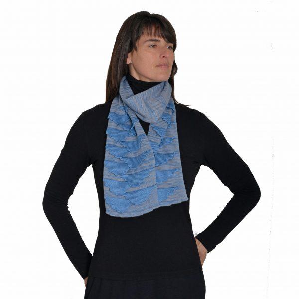 blue and gray handwoven handmade warm scarf, cloud blue scarf, handmade winter clothes, nc fiber artist