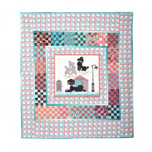 hand sewn wall hanging wall quilt with poodles, turquoise pink black and white quilted wall art