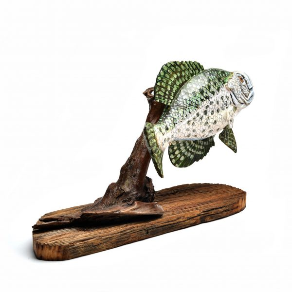 hand carved and painted fish sculpture, southern wood carving, gift for fisherman, wood folk art