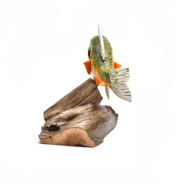 rear view of carved wood fish, painted and carved traditional wood sculpture, gift for fisherman, southern appalachian craft, folk art center