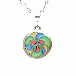 small round necklace with colorful trillium design with plique a jour enamel, sterling silver chain with trillium stained glass pendant