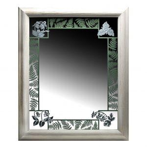 handmade sandblasted mirror with green ferns