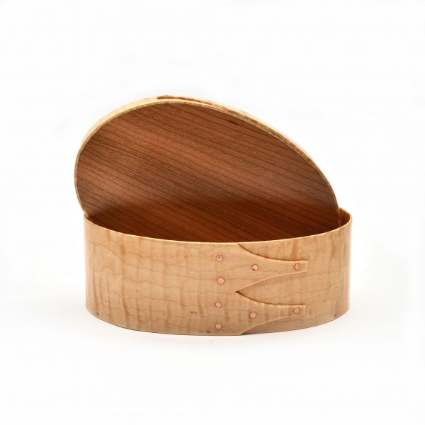 curly maple shaker box with cherry lid