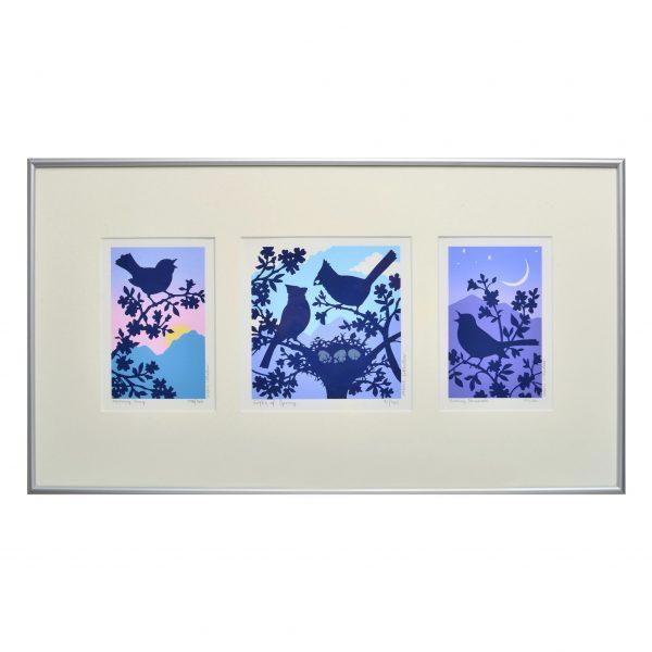 bird mountain print, mountain home artwork, blue prints, nc artist