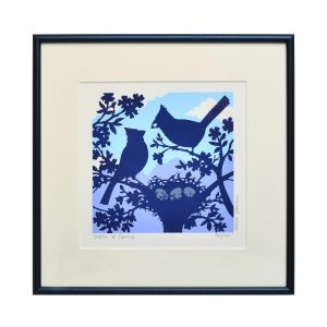 bird print, blue and purple handmade print of birds with their nest, mountain home decor,
