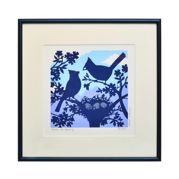 bird print, blue and purple handmade print of birds with their nest, mountain home decor,