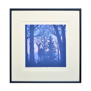 print of a deer standing in the woods, silhouette print, blue and purple nature print, mountain home decor