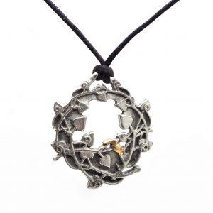 circle of life handmade pewter wreath pendant