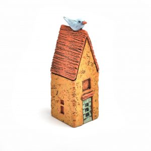 blue bird clay sculpture on top of house, handmade clay house with blue bird on roof, small clay sculpture for the wall, house warming gift, mountain home decor, folk art center