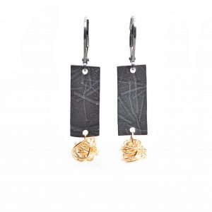 oxidized silver rectangle earrings with gold birdsnests, asheville jewelery