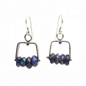 handmade silver and moonstone earrings, asheville area arts council artist, arful home jewelry, casual silver and gemstone earrings