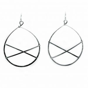 light silver hoop earrings, artful home, modern jewelry, handmade everyday hoop earrings