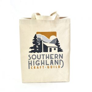 heavy duty canvas southern highland craft guild tote, folk art center