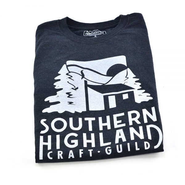 dark gray t-shirt with white Southern Highland Craft Guild logo