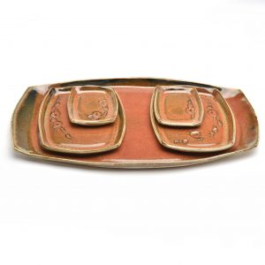 handmade ceramic sushi set in red brown glaze, 5 piece sushi set, north carolina pottery