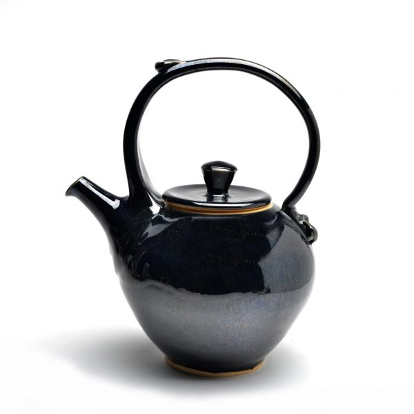jet black handmade teapot, top handled wheel thrown teapot, weaverville potter,