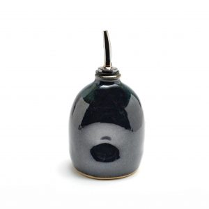 black glazed oil pourer, handmade gifts for the chef, handmade kitchen, affordable handmade kitchen gadgets