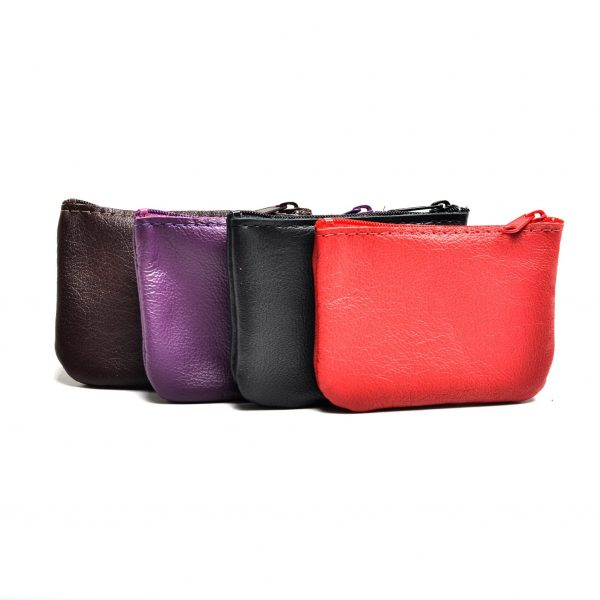 handmade small leather coin pouch in black brown purple and red