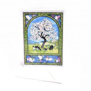 handmade notecards with a spring tree and beautiful border