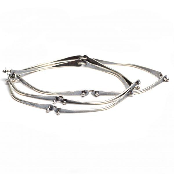 handmade silver segmented bracelet with oxidized patina, everyday bracelet
