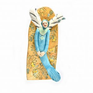beach home decor, mermaid wall art, angel wall art, tn potter, figurative clay sculpture, folk art center, whimsical craft
