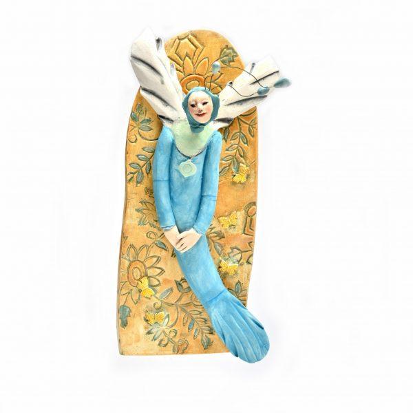beach home decor, mermaid wall art, angel wall art, tn potter, figurative clay sculpture, folk art center, whimsical craft