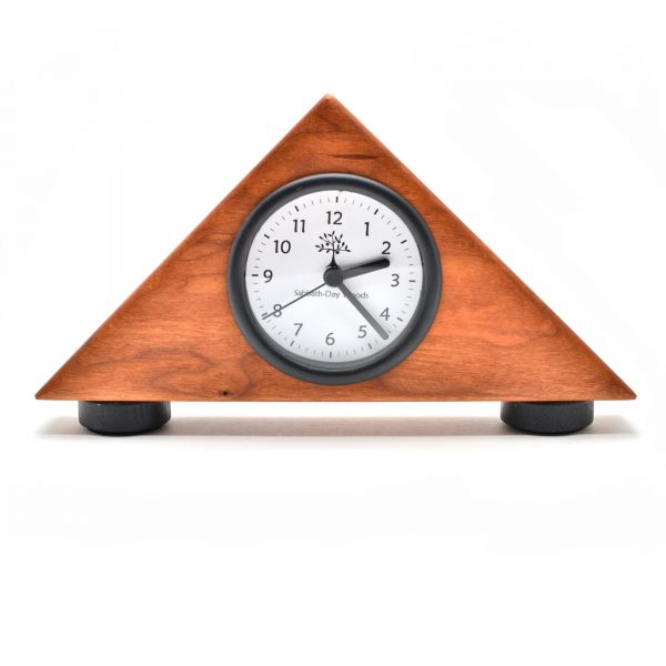 small handmade wooden clock, triangle wooden clock with round clock face