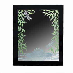 handmade sandblasted mirror with waterlilies and dragonflies