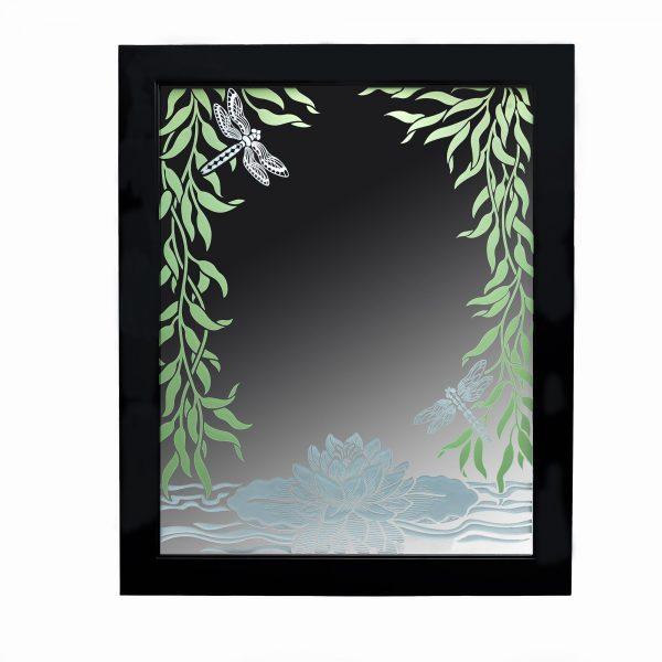 handmade sandblasted mirror with waterlilies and dragonflies