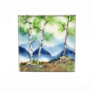 glass landscapes for the wall, mountain and tree scenes made of glass, fused glass painting, mountain art