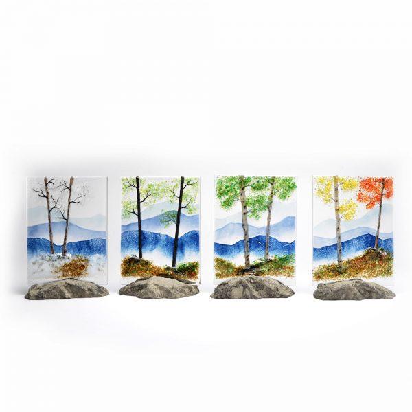 seasonal glass wall art, fused glass artist nc, north carolina glass artist, osaka glass,