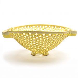 yellow handmade ceramic large colander